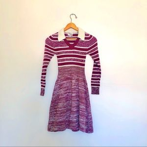 60s Contrast Collar Fit & Flare Sweater Dress
